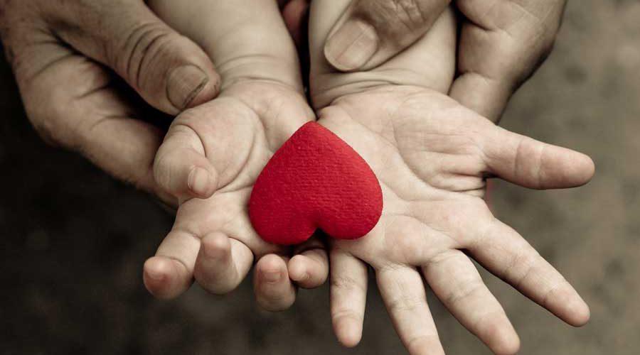 ידי אבא מחזיקות יחד עם ידי ילד לב אדום