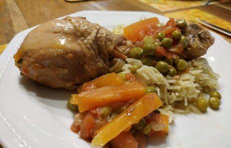 תבשיל עוף אביבי עם ירקות