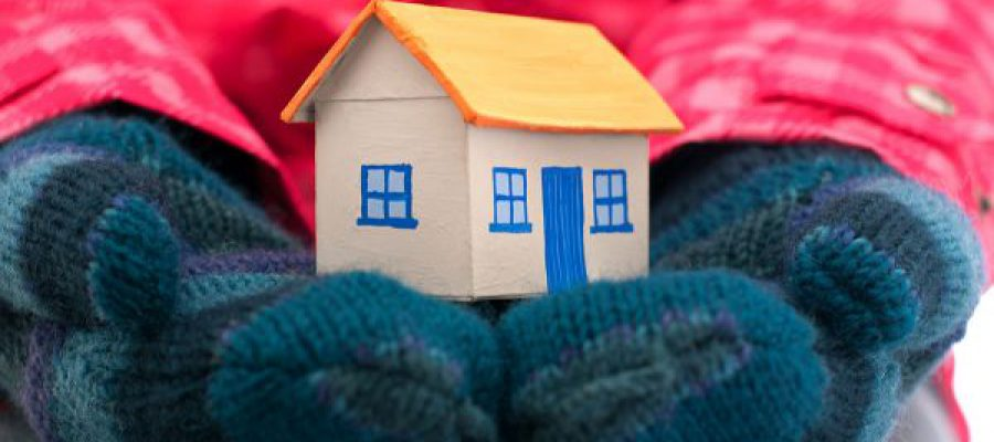 זוג ידיים בכפפות מחזיקות בית - חורף וכלכלת בית