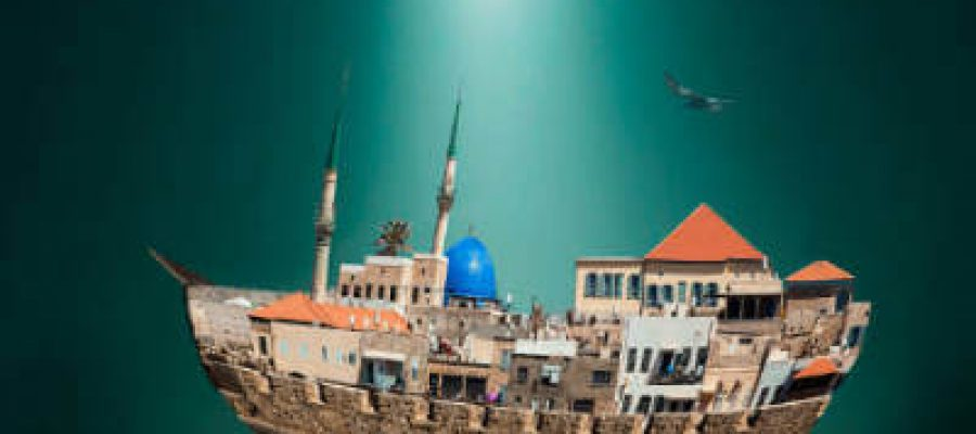 עיר בצורת ספינה מוקפת חומה