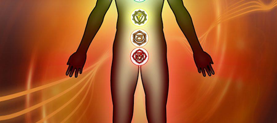 Chakra points son the human body. Digital illustration.